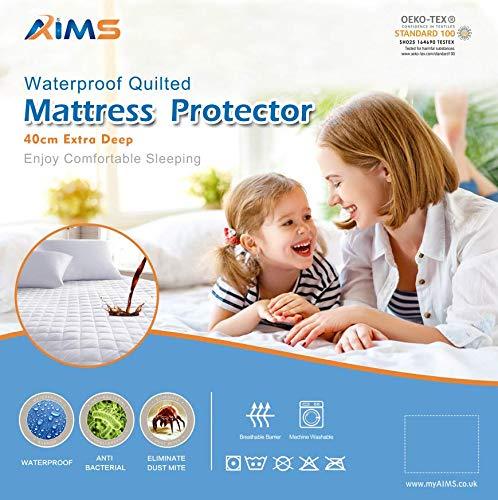 AIMS Protector de colchón acolchado impermeable de 40 cm, extra profundo, sábana bajera ajustable de microfibra, falda elástica (individual)