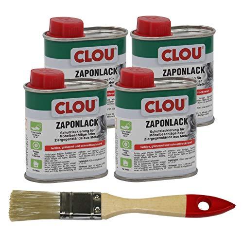 Clou Zaponlack farblos 4x 125ml Zapon Metalllack Korrosion Metallschutz + Pinsel