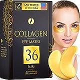 36 Pairs Collagen Under Eye Masks, 24K Gold Under Eye Patches (Reduce Bags and Puffiness), Dark...