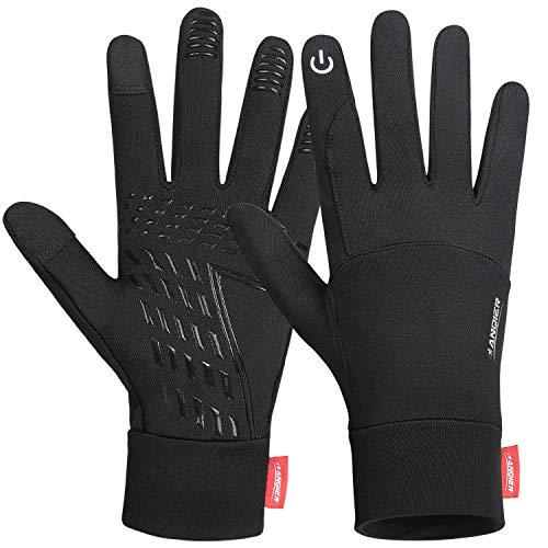 Handschuhe Herren Damen, Herbst Winter Dünne Sporthandschuhe Outdoor Laufhandschuhe Touchscreen Handschuhe, T05 Warm rutschfest Full Finger Gloves für Fahren Radfahren Wandern (Kohlenschwarz, L)