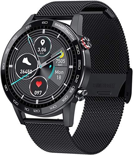 Reloj inteligente con pantalla táctil con cámara Bluetooth impermeable reloj inteligente deportivo Fitness Tracker Sier Exquisite-Negro