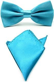 Men Satin Solid Color Pre-tied Tuxedo Bowtie Bow Tie Handkerchief Pocket Square Set