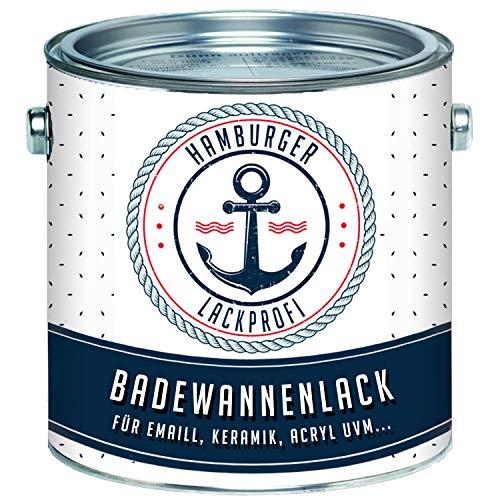 Badewannenlack GLÄNZEND Verkehrsweiß RAL 9016 Weiß Badewannenbeschichtung Emaille Farbe // Hamburger Lack-Profi (1 L)
