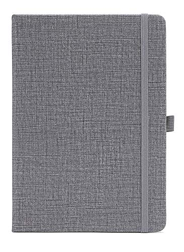 Yansanido 192 Pages Thick Notebook Hard Cover Lined Journal Notebook with Pen Loop A5/ 5.7x8.3 inch Cloth Hardcover Notebook with 80 gsm Premium Thick Paper with Inner Pocket (Gray)