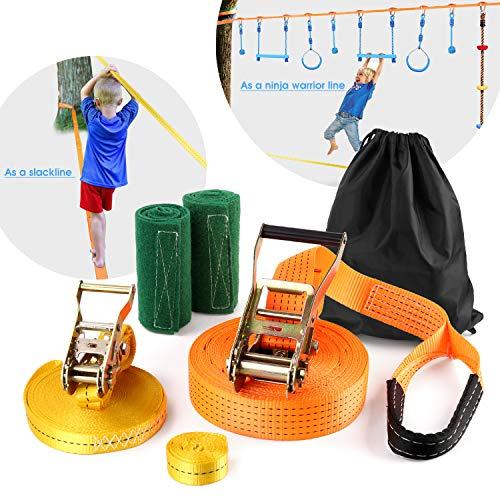 Odoland Slackline Set Kinder mit 15m Band und Ratsche Ratschenschutz Hilfsline Balancierhilfe Baumschutz und Transportbeutel für Kinder & Anfänger