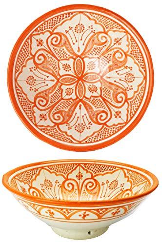 Orientalische Keramikschale Keramikteller Rund Liyah Ø 25cm Groß | farbige marokkanische Keramik Schale Teller bunt aus Marokko | Orient große Keramikschalen flach Geschirr orientalisch handbemalt
