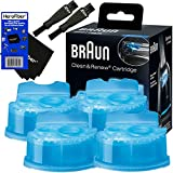 Braun Clean and Renew Cartridge Refills, Replacement Cleaner, Cleaning Solution (4 Pack) for Series 3, Series 5, Series 7 & Series 9 + Double Ended Shaver Brush + Cleaning Cloth