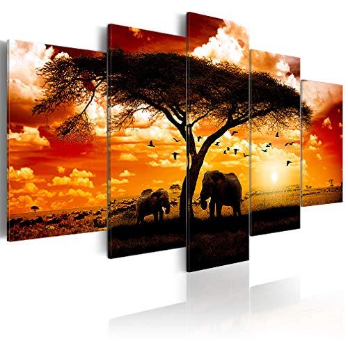 decomonkey Bilder Afrika 200x100 cm XXL 5 Teilig Leinwandbilder Bild auf Leinwand Wandbild Kunstdruck Wanddeko Wand Wohnzimmer Wanddekoration Deko Elefant Tiere Baum