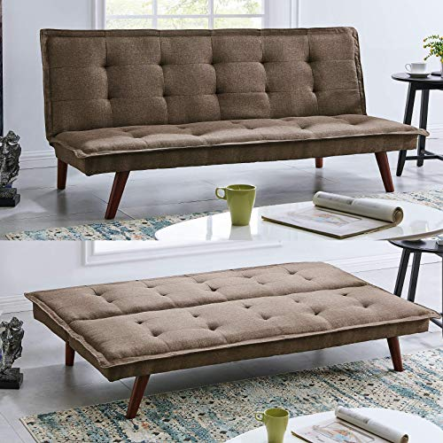 BRAVICH Modern TONI Scandinavian Brown 2/3 Seater Sofa Bed Fabric Couch Settee Click Clack Sofa Bed Recliner Bed Sofa For Living Room Bedroom