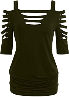 Steampunk Clothing for Women Plus Size,MILIMIEYIK Womens Shoulder Cut Rivet Lacerated Sleeve T-Shirt Hollow Out Casual Tops