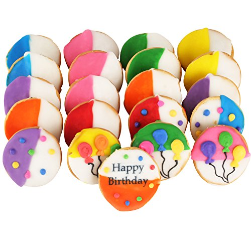 Happy Birthday Cookie Gift basket Tin filled with 21 individually hand decorated assorted colored black and whites. 7 bright colors Great Birthday Gift for HIM HER BOYS GIRLS MEN WOMEN PRIME DELIVERY