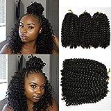 6 piece Flyteng 8 inch Marlybob Kinky Curl crochet hair extensions black color crochet braids Marlybob crochet hair Curly weave hair synthetic Braiding hair