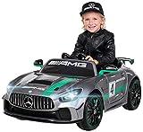 Kinder Elektroauto Mercedes Benz Amg GT4 Sport Edition - Lizenziert - 2,4 Ghz Fernbedienung - Softstart - Elektro Auto für Kinder ab 3 Jahre (Silber lackiert)