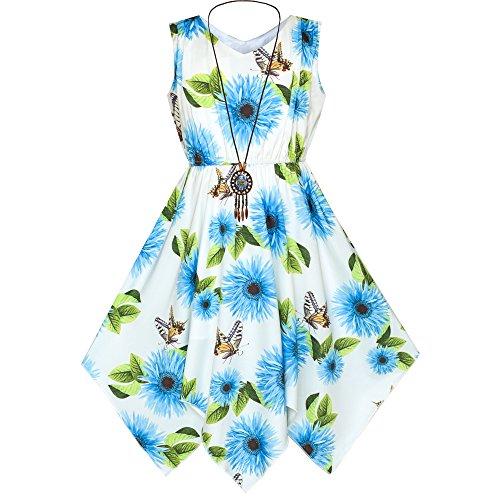 Sunny Fashion Robe Fille Bleu Fleur Mouchoir Ourlet avec Collier 10 Ans