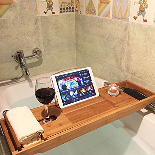 Shelf Luxury Home Spa Extensible Bamboo Bath Caddy Tray with Glass Wine, Tablet/Book, Smartphone Holder