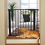 Honganrunli 83 – 89 cm de ancho, con doble interruptor, cierre automático, rejilla para escaleras, para casa, escaleras, puertas, adecuado para perros, gatos o niños, color negro