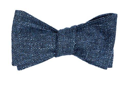 Handgenähte Herren Anzug - Fliege blau meliert/Schleife zum Selbstbinden - Selbstbinder - Querbinder