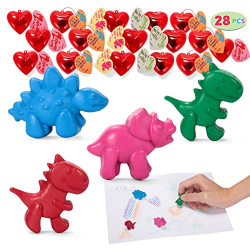 JOYIN 28 Packs Valentines Day Prefilled Hearts with Valentine Cards Filled with Dinosaur Crayons for Valentine Party Favor, Classroom Prize Supplies, Valentine's Greeting Gifts