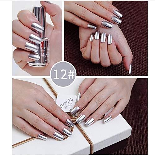 Ocamo Metallic Nagellack Spiegeleffekt Lack bunter glänzendes Metall Nagellack Maniküre Lack silber 12# Normale Spezifikationen