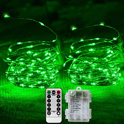 St Patrick#039s Day String Lights 2 Packs 50 LED St Patrick Green Lights 8 Modes Battery Operated Mini Green Fairy Lights for St Patrick Decoration Irish Party Christmas Decor