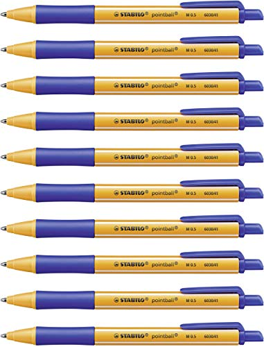 Druck-Kugelschreiber - STABILO pointball - 10er Pack - blau