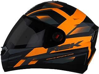 Steelbird SBA-1 R2K Full Face Graphics Helmet in Matt Finish with Smoke Visor (Large 600 MM, Matt Black with Orange)