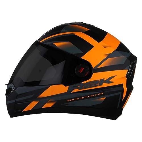 Steelbird SBA-1 R2K Full Face Graphics Helmet in Matt Finish with Smoke Visor (Medium 580 MM, Matt Black with Orange)