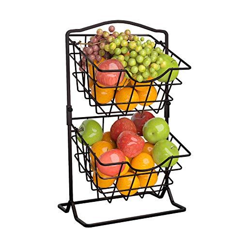 Soporte para cesta de frutas para encimera, 2 cestas de verduras para cocina, soporte de almacenamiento con niveles, color negro