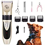 Kartice Dog Hair Clippers, Pet Hair Clippers Kit, Cordless Low Noise Rechargeable Dog Grooming Shaver Clippers with Nail Kits Scissors Comb for Dogs, Cats, Pets
