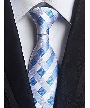 Eneston Men s Classic Checks Light Blue Jacquard Woven Silk Tie Necktie
