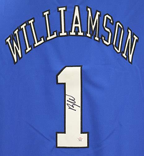 Zion Williamson Duke Blue Devils Signed Autographed Blue #1 Jersey PAAS COA