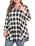 MONNURO Womens Plus Size 3/4 Sleeve V Neck Button Casual Loose Flowy Swing Tunic Tops Basic Tee Shirts for Leggings(7-Black,2X)