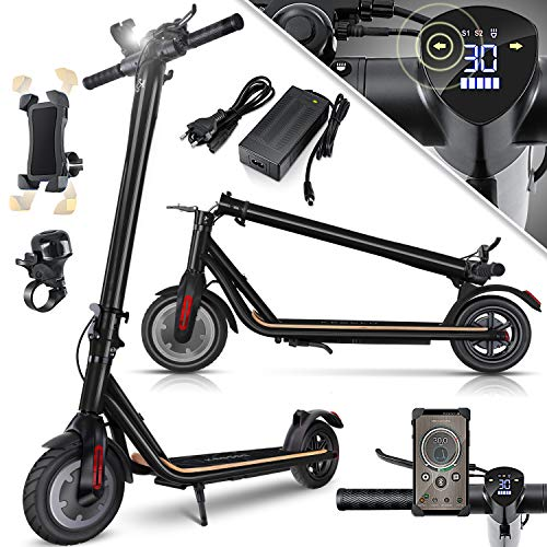 KESSER® Elektro Scooter 700 W E-Scooter mit APP & Bluetooth E-Roller Elektroroller Faltbar 9,5 Zoll Reifengröße bis zu 30 km/h Aluminium Klappbar max. Belastung 120kg, LED Anzeige Akku Schwarz