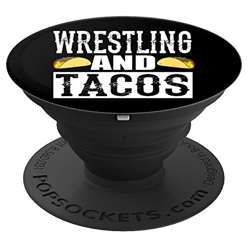 Wrestling and Tacos Funny Pro Wrestling Taco Black PopSockets Grip and Stand for Phones and Tablets