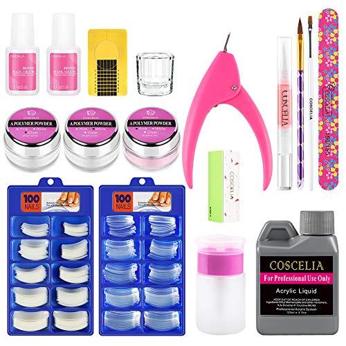 Liquide Acrylique 120ml Kit Acrylique Poudre Powder Faux Ongles Manucure Lime Colle Accessoires Nail Outils Coscelia