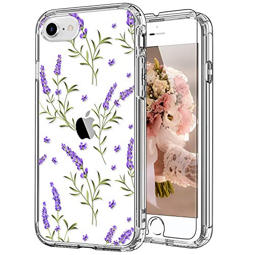 ICEDIO iPhone SE Case 2020,iPhone 8 Case,iPhone 7 Case with Screen Protector,Clear with Purple Lavender Floral Patterns for Girls Women,Shockproof Protective Phone Case for iPhone 7/8/SE2