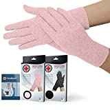 Doctor Developed Full Fingered Arthritis Gloves/Compression Gloves (Pink) and Doctor Written Handbook - Joint...