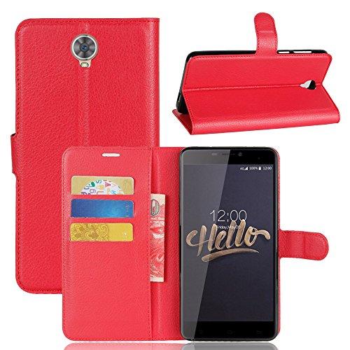 XMT Cubot Max 6.0' Custodia,Premio PU Custodia in Pelle con Wallet Case Cover per Cubot Max Smartphone (Rosso)