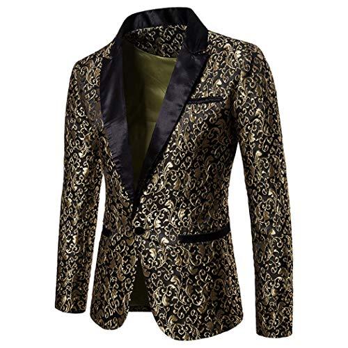 Auppy Traje para hombre de fiesta floral traje elegante cena esmoquin chaqueta boda Blazer Halloween/Cosplay esmoquin Chaquetas Blazers, dorado, M