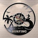 wtnhz LED-Waves Palm Trees Summer Beach Mural Surf Reloj de Pared Surf Decoración del hogar Surfers Disco de Vinilo Reloj de Pared Regalos para surfistas