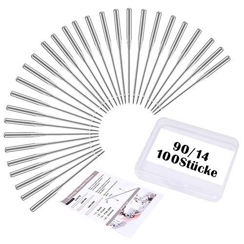 Wamkon 100 Stücke Nähmaschine Nadel Set, 90/14 Nähen Maschine Nadeln, Universal Nähmaschine Nadeln Set für Haushalt Nähen