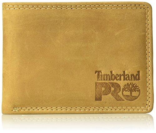 Timberland PRO Leather RFID Wallet with Removable Flip Pocket Card Carrier Portafogli, Grano/Pullman, Taglia Unica Uomo