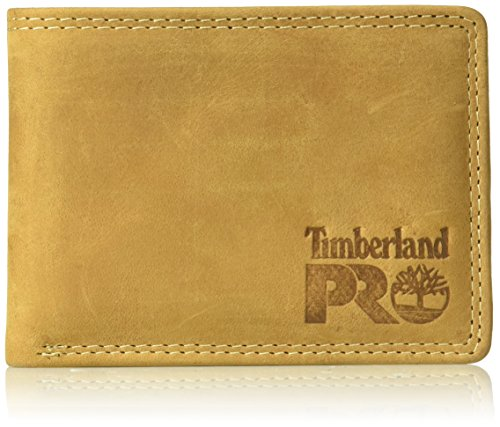 Timberland PRO Leather RFID Wallet with Removable Flip Pocket Card Carrier Billetera, Trigo/Pullman, Talla única para Hombre