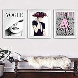 JEfunv Moderne Leinwandbild Lippen Vogue Poster Mode