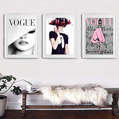 MHHSFN Moderne Wand Bild Lippen Vogue Poster Nordic Poster und Drucke Wandkunst Leinwand Malerei für Wohnzimmer Home Decor-30x40cmx3p kein Rahmen