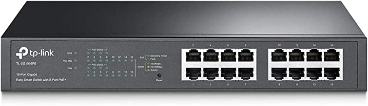 TP-Link 16-Port Gigabit PoE+ Easy Smart Managed Switch with 110W 8-PoE Ports | Unmanaged..