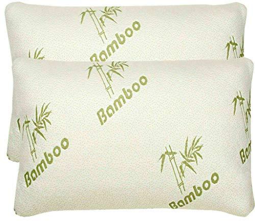 2 almohadas H-Z ultra suaves de espuma viscoelástica de bambú extra cómodas, ajustables, hipoalergénicas, para el estómago, ortopédico, cuello y espalda, antialérgicas