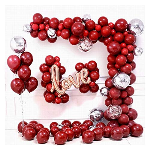 aolongwl Foil balloon 125pcs Balloon Garland Arch Kit Ruby Red Latex Balloons Rose Gold Love Globos Wedding Birthday Party Decorations balloon (Color : 125pcs)