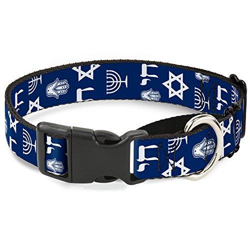 Buckle-Down MGC-W31015-L Jewish Symbols-4 Blue/White Martingale Dog Collar, Large
