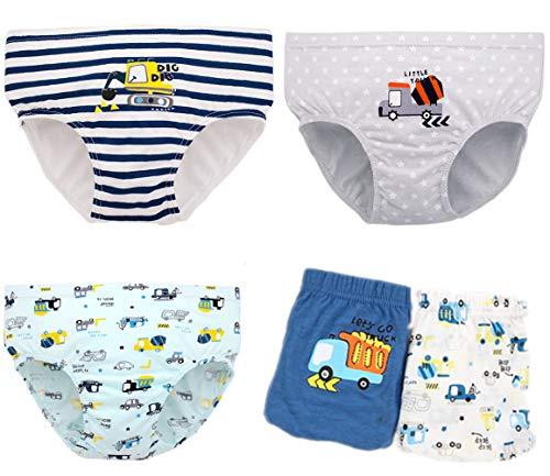 WAIWAIZUI Kinder Slips Jungen Unterhose Boxershorts Bär Baumwolle 5 Pack, Bär 01, 2-3Jahre(Herstellergröße:60)